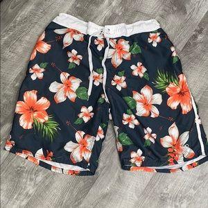 OP blue orange floral board shorts - L